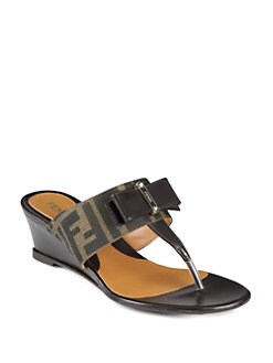 Fendi - Logo-Detail Canvas & Leather Bow Wedge Sandals