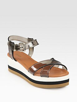 Fendi - Hydra Jelly Crisscross Wedge Sandals