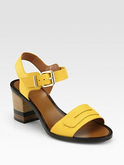 Fendi - Antiope Lizard-Embossed Leather Sandals