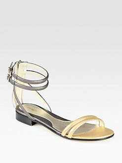 Fendi - B. Fab Textured Metallic Leather Ankle Strap Sandals