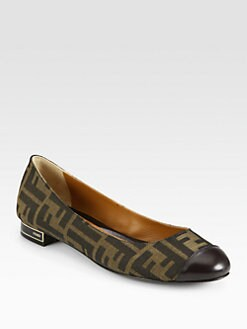 Fendi - Crayons Logo Canvas Jacquard Ballet Flats