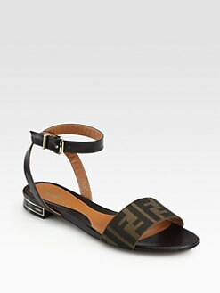 Fendi - Crayons Logo-Print Canvas Jacquard Sandals