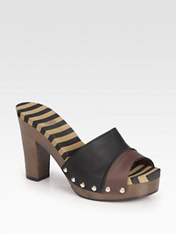 Fendi - Leather Striped Wooden Clogs