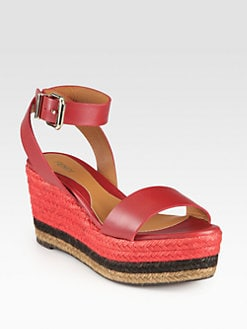 Fendi - Pequin Leather Ankle Strap Espadrille Wedge Sandals
