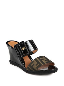 Fendi - Vernis Zucca Logo Canvas & Patent Leather Wedge Slides