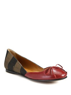 Fendi - Pequin Leather and Canvas Logo Ballet Flats