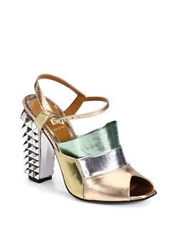 Fendi - Polifonia Metallic Leather Spiked-Heel Sandals