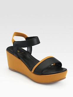 Fendi - Polifonia Leather Wedge Sandals