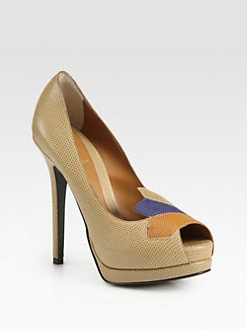 Fendi - Plifnia Goosebump Leather Platform Pumps