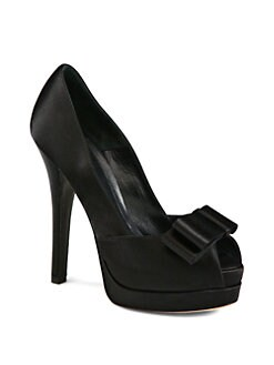 Fendi - Deco Satin Bow Platform Pumps