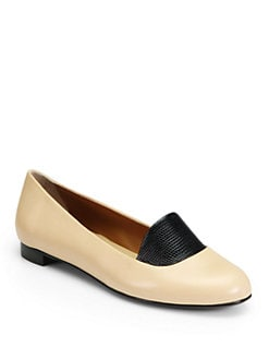 Fendi - Bicolor Lizard-Print Leather Ballet Flats