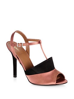 Fendi - Anme Satin T-Strap Sandals