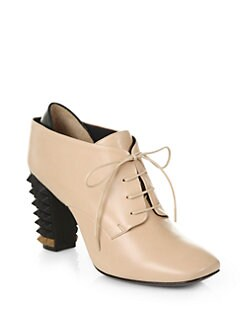 Fendi - Polifonia Leather Lace-Up Ankle Boots