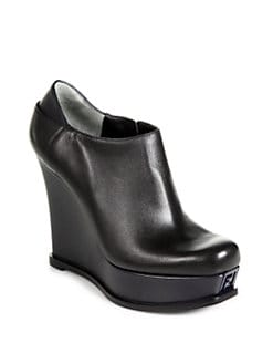 Fendi - Fendista Leather Wedge Ankle Boots