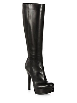 Fendi - Fendista Leather Knee-High Platform Boots