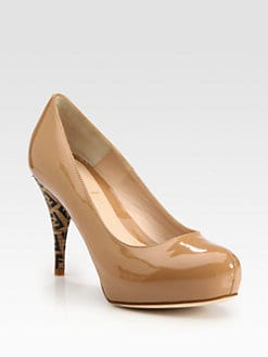 Fendi - FF Superstar Patent Leather Logo Platform Pumps