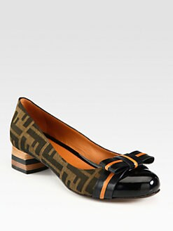Fendi - Pride & Prejudice Monogram Canvas Bow Pumps