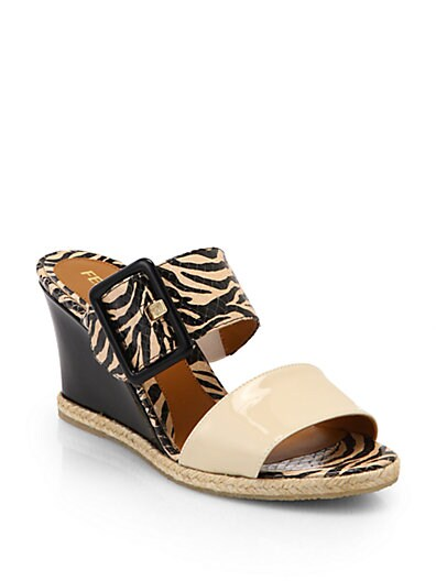 Zebra-Print Leather Double-Strap Wedge Sandals