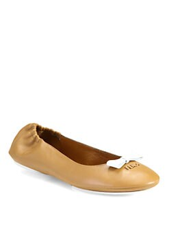 Fendi - Let's Dance Leather Bow Ballet Flats