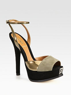 Fendi - Fendista Suede & Metallic Leather Platform Sandals