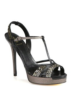 Fendi - Zelda Lizard-Print Leather & Crystal-Coated Sandals