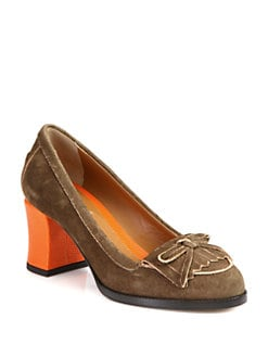 Fendi - Austen Suede Loafer Pumps