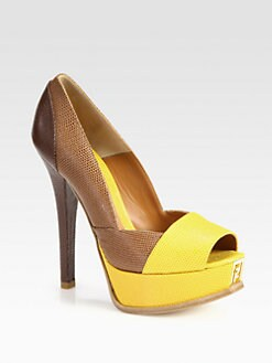 Fendi - Fendista Lizard-Print Leather Platform Pumps