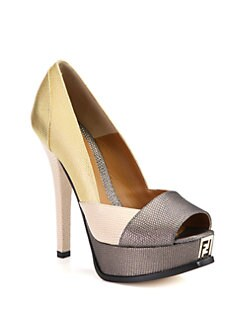 Fendi - Fendista Metallic Lizard-Print Leather Platform Pumps