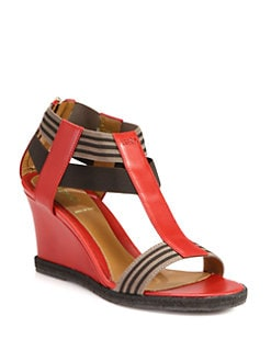 Fendi - Carioca Leather T-Strap Wedge Sandals