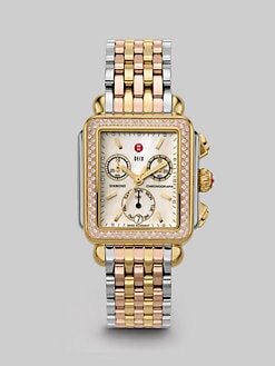 Michele Watches - Deco Tricolor Diamond Chronograph Bracelet Watch