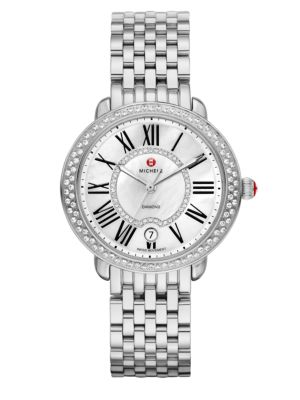 Serein 16 Diamond, Mother-Of-Pearl & Stainless Steel Bracelet Watch