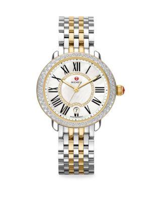 Serein Diamond, Mother-Of-Pearl, 18K Goldplated & Stainless Steel Bracelet Watch