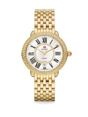 MICHELE WATCHES Serein 16 Diamond, Mother-Of-Pearl & 18K Goldplated Stainless Steel Bracelet Watch