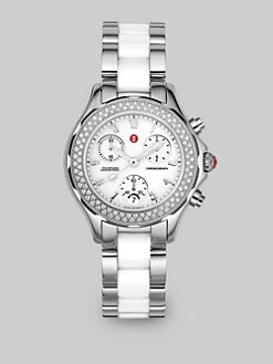 Michele Watches - Tahitian Diamond Ceramic & Stainless Steel Watch/White