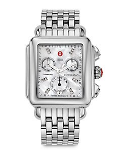 Michele Watches - Deco Day Diamond Stainless Steel Chronograph Bracelet Watch