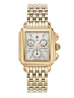 Michele Watches - Deco Day Diamond Goldplated Chronograph Bracelet Watch