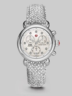 Michele Watches - Sequined Stainless Steel Chronograph Watch
