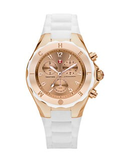 Michele Watches - Silicone & Rose Goldtone Stainless Steel Chronograph Watch/White
