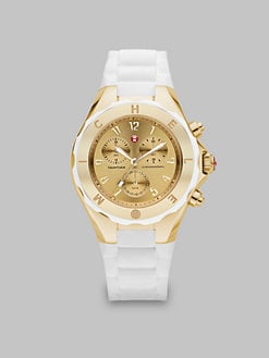 Michele Watches - Silicone & Goldtone Stainless Steel Chronograph Watch/White
