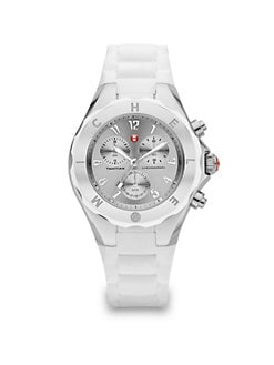 Michele Watches - Silicone & Stainless Steel Chronograph Watch/White