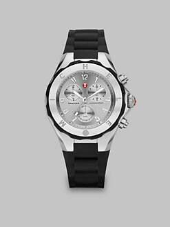 Michele Watches - Silicone & Stainless Steel Chronograph Watch/Black