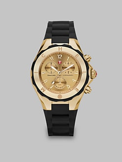 Michele Watches - Silicone & Goldtone Stainless Steel Chronograph Watch/Black
