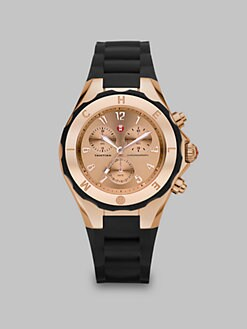 Michele Watches - Silicone & Rose Goldtone Stainless Steel Chronograph Watch/Black