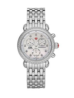 Michele Watches - Diamond Accented Stainless Steel Chronograph/Stainless Steel Bracelet