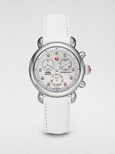 Stainless Steel Diamond Marker Chronograph Watch/White Patent Leather Strap