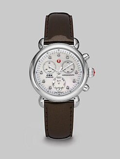 Michele Watches - Stainless Steel Diamond Marker Chronograph Watch/Espresso Patent Leather Strap