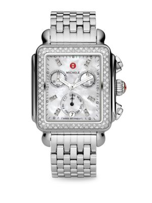 Deco 18 Diamond, Mother-Of-Pearl & Stainless Steel Chronograph Bracelet Watch