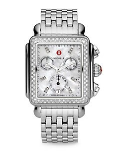 Michele Watches - Diamond Accented Stainless Steel Chronograph Watch