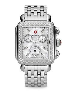 Michele Watches - Deco Diamond & Stainless Steel Chronograph Bracelet Watch