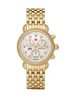 Michele Watches - Diamond Accented Goldtone Chronograph Watch